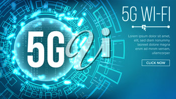 5G Wi-Fi Standard Background Vector. Five, 5th Generation. Signal Transmission. high Speed Innovation Connection. Future Technology Illustration