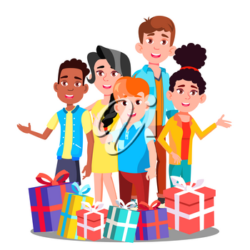 Happy Children With Many Christmas Gifts Vector. Illustration