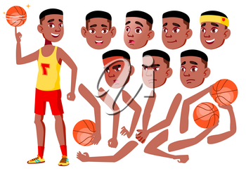 Teen Boy Vector. Black. Afro American. Teenager. Cute, Comic. Joy. Face Emotions, Various Gestures. Animation Creation Set Isolated Cartoon Character Illustration