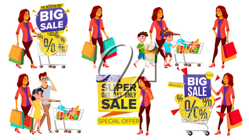 Shopping Woman Set Vector. People In Mall. Family, Children. Purchasing Concept. Happy Shopper. Holding Paper Packages, Bags. Pleasure Of Purchase. Business Isolated Illustration