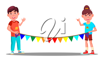 Two Children Holding A Rope With Colored Party Flags Vector. Isolated Illustration