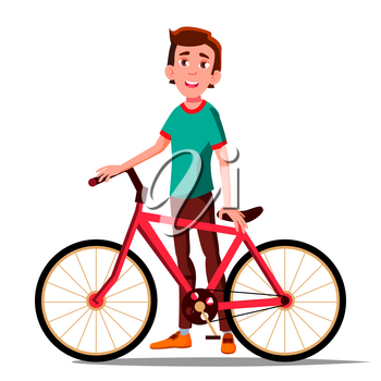 Teen Boy With Bicycle Vector. City Bike. Outdoor Sport Activity. Eco Friendly. Illustration