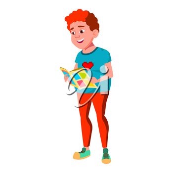 Teen Boy Poses Vector. Red Head. Fat Gamer. Face. Children. For Web, Brochure, Poster Design. Isolated Cartoon Illustration