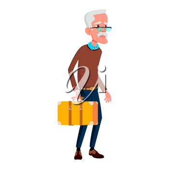 Old Man Poses Vector. Elderly People. Senior Person. Aged. Funny Pensioner. Leisure. Postcard, Announcement, Cover Design. Isolated Cartoon Illustration