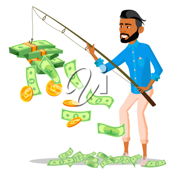 Lucky Businessman With A Fishing Rod In Hands And Pile Of Money Near Vector. Illustration
