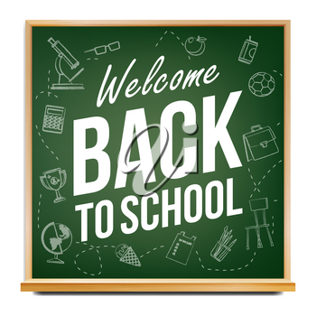 Back To School Banner Design Vector. Green. Classroom Blackboard. Sale Poster. 1 September. Education Related. Realistic Illustration