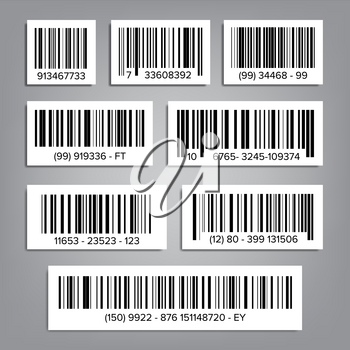Bar Code Set Vector. Modern Simple Flat Barcode. Marketing, Fashionable Scan Sign. Isolated Illustration