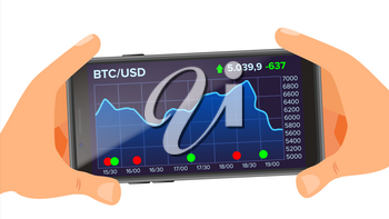 Bitcoin Application Vector. Hand Holding Smartphone. Bitcoin App with Graph, Trend, Diagram. Investment Concept. Trading Design Concept. Isolated Flat Illustration