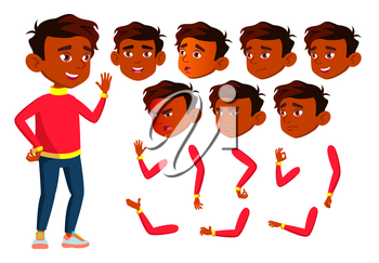 Indian Boy, Child, Kid, Teen Vector. Happy Childhood. Hindu. Face Emotions, Various Gestures. Animation Creation Set Isolated Cartoon Character Illustration