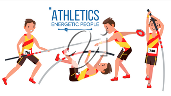 Athletics Male Player Vector. In Action. Sport Concept. Jogging Race. Sportswear. Individual Sport. Cartoon Character Illustration