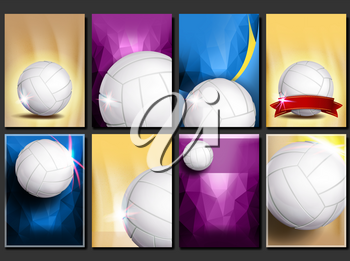Volleyball Poster Set Vector. Empty Template For Design. Promotion. Volleyball Ball. Vertical Modern Tournament. Sport Event Announcement. Banner, Flyer Advertising. Blank Illustration