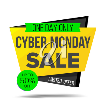 Cyber Monday Sale Banner Vector. Special Offer Sale Banner. Holidays Sale Announcement. Isolated On White Illustration