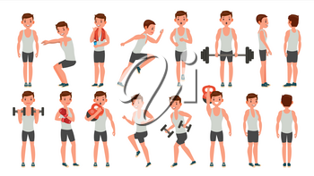 Fitness Man Vector. Different Poses. Lifestyle Design. Exercise And Athlete. Isolated Flat Cartoon Character Illustration