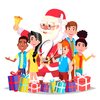 Santa Claus With Children Vector. Merry Christmas And Happy New Year. Greeting, Postcard, Colorful Design. Isolated Cartoon Illustration