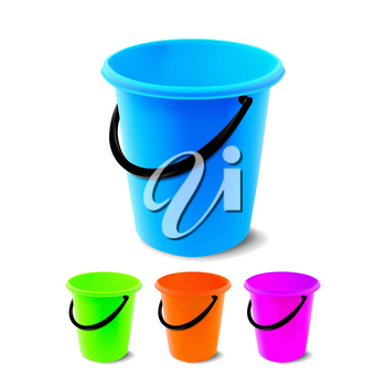 Plastic Bucket Vector. Bucketful Different Colors. Classic Jar With Handle, Empty. Garden, Household, Office Equipment. Realistic Illustration