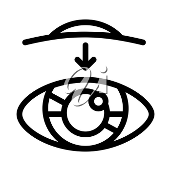 Eye Vision Contact Lens Biomaterial Vector Icon Thin Line. Biology And Science Flasks, Bioengineering, Dna And Medicine Vaccine Biomaterial Concept Linear Pictogram. Monochrome Contour Illustration