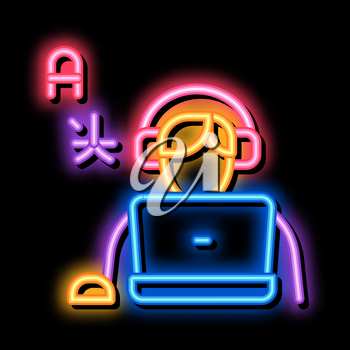 Human Learn Foreign Language neon light sign vector. Glowing bright icon Man With Laptop And Earphones Listen International Language sign. transparent symbol illustration