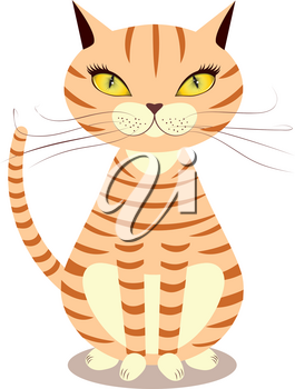 Cartoon striped red cat with yellow eyes on a white background.
