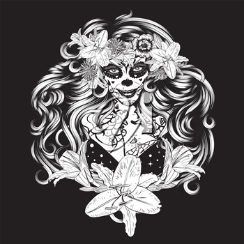 Zombie or witch woman with halloween sugar skull makeup in flower crown with lily flowers.