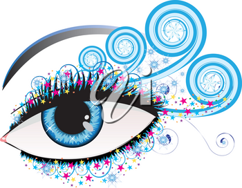 Illustration of woman eye of blue color with stars and swirls.
