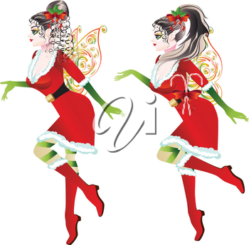 Cartoon girl wearing Santa elf outfit with fairy wings.