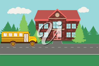 Rural school building and yellow bus illustration.