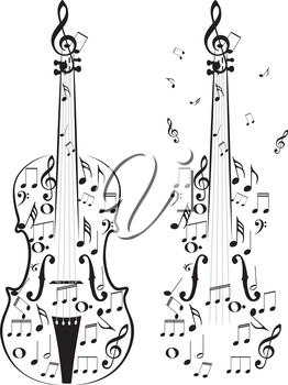 Creative violin silhouette with music notes inside of it.