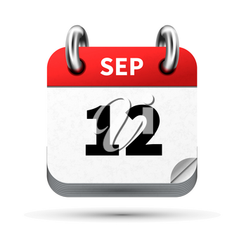 Bright realistic icon of calendar with 12 september date on white
