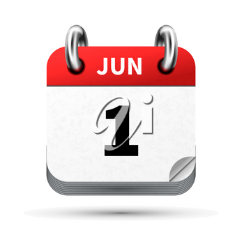 Bright realistic icon of calendar with 1st june date on white