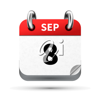 Bright realistic icon of calendar with 8 september date on white
