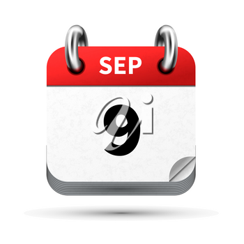 Bright realistic icon of calendar with 9 september date on white