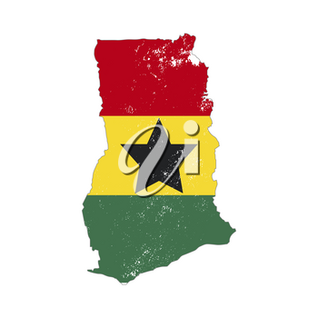 Ghana country silhouette with flag on background on white