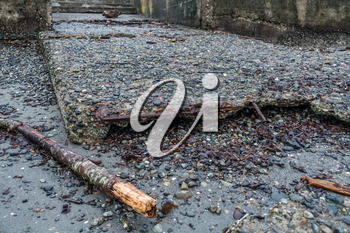 A view of an eroding boat ramp in Des Moines, Washington.