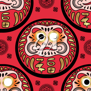 Daruma doll seamless pattern. Texture for scrapbooking, wrapping paper, textiles, web page, textile wallpapers, surface design, fashion