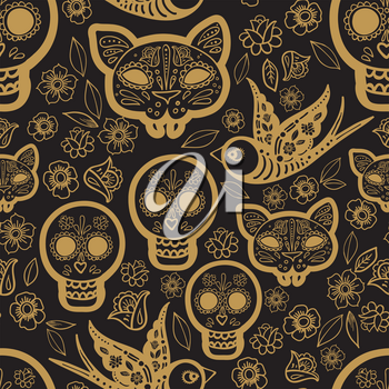 Gold seamless pattern Day of the Dead, a traditional holiday in Mexico. Skulls.