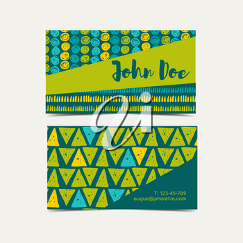 Business card vector background.  Trend green flash color. Hand drawn style.