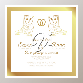 Romantic Wedding invitation with gold rings, owls. Square shape. Suitable for bachelorette party, keep this date, congratulations