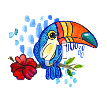 Watercolo Bird Toucan Ramphastida , tropical hibiscus flower in cartoon style. The phrase Hello. Suitable for print on t-shirt, poster jungle postcard for children