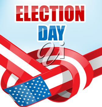 USA election day with ribbon flag on sky background