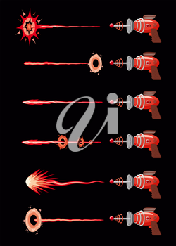 Set of blaster, laser, gan game, shot ray and flash, vector illustration, cartoon silhouette, red, blue, dark for games apps concept