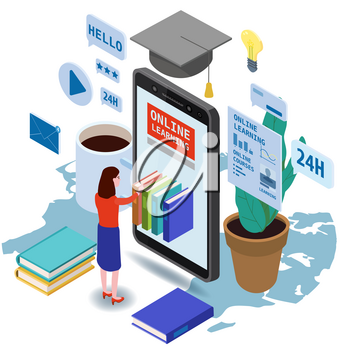 Online education isometric landing icons composition with little women taking books from smartphone