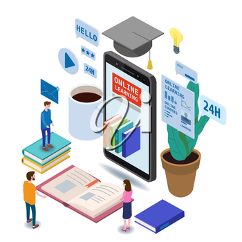 Online education isometric icons composition with little people taking books from smartphone