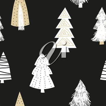 Scandinavian seamless pattern spruce. Vector abstract minimalism style for decoration textile, covers, package, wrapping