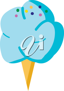 Blue cotton candy with colorfull sprinkles vector illsutration on white background.