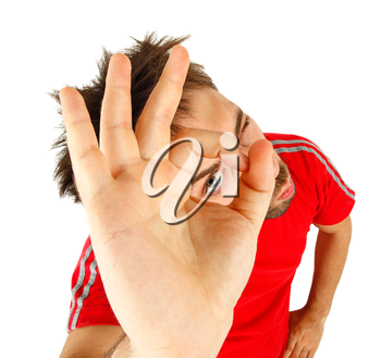 Young man with red t-shirt on white background,  Ok concept.