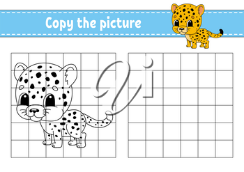Spotted jaguar. Copy the picture. Coloring book pages for kids. Education developing worksheet. Game for children. Handwriting practice. Funny character. Cute cartoon vector illustration.