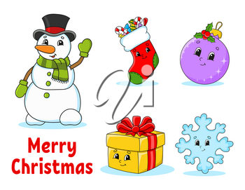 Set of christmas cute cartoon characters. Snowman, sock, bauble, gift, snowflake. Happy New Year. Hand drawn elements. Winter stickers. Color vector illustration isolated on white background.